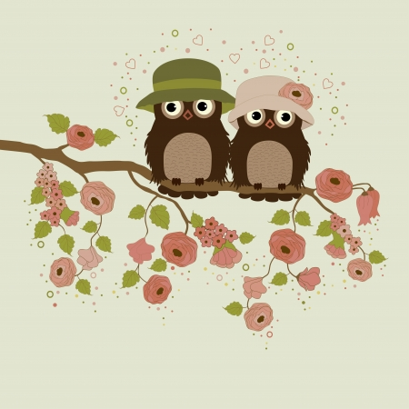 Cute owls on branch with flowers and leafs Vector