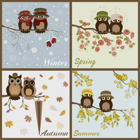 owl on branch: Owls in four seasons- spring, summer, autumn, winter