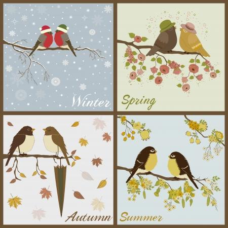 Uccelli in quattro stagioni-primavera, estate, autunno, inverno