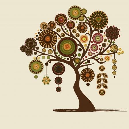 R�sum� arbre stylis� et place pour le texte Illustration