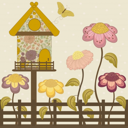 Floral house with spring flowers, fence and butterfly Vector