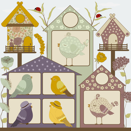 Houses for birds and flowers Vector