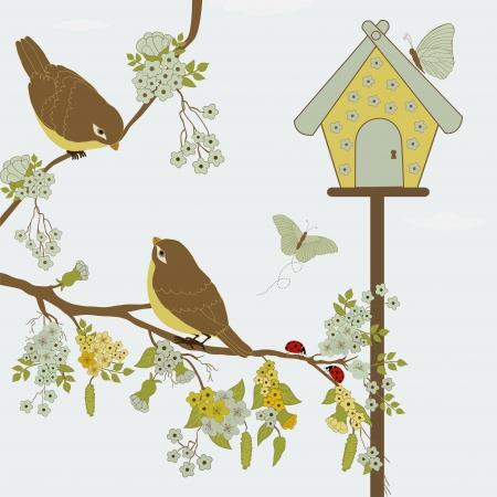 Birds on branch and butterflies in garden Vector