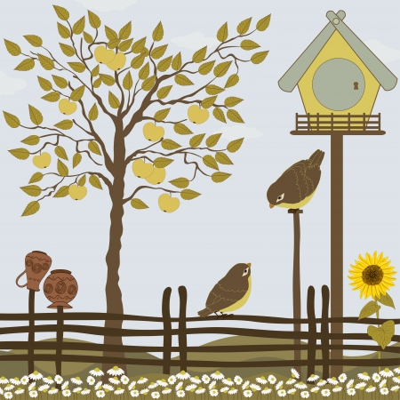 house drawing: Rural landscape with tree, birds and flowers Illustration