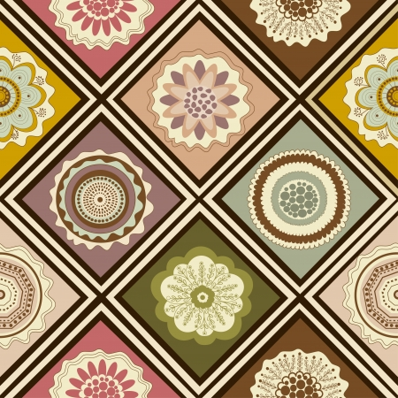 Seamless abstract floral pattern with colorful squares Vector