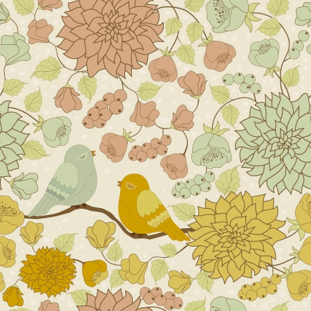 flores retro: Patr�n de colores sin fisuras con flores y p�jaros