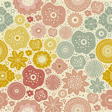 Seamless abstract colorful pattern on beige background Vector