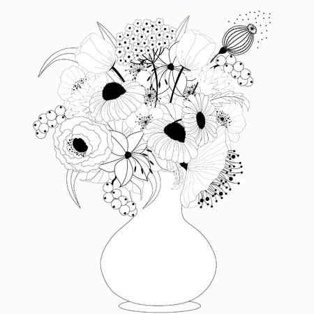 vase of flowers: Black and white flowers