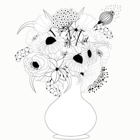 Fleurs noires et blanches Banque d'images - 25237225