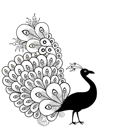 white card:  Card with abstract beautiful peacock  in  black and white Illustration