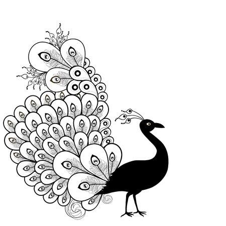 zwart wit tekening: Kaart met abstracte mooie pauw in zwart-wit Stock Illustratie