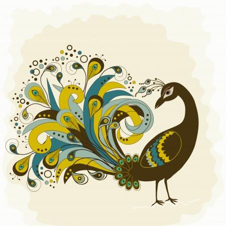 exotic: Tarjeta con extracto hermoso pavo real