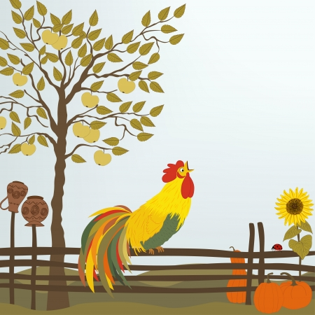 A rooster on the fence with a tree, pumpkins and sunflower Vector