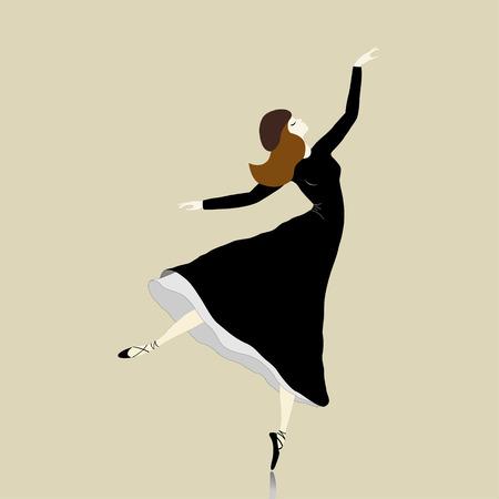 Beautiful dancer  in black dress on beige background Vector