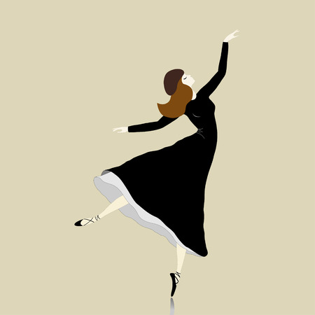 pointes: Beautiful dancer  in black dress on beige background