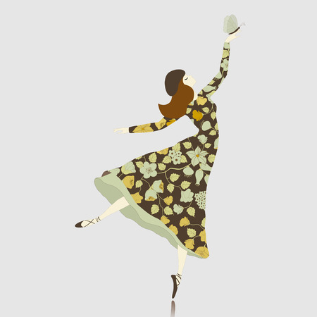Dancer in floral dress with butterfly Vector