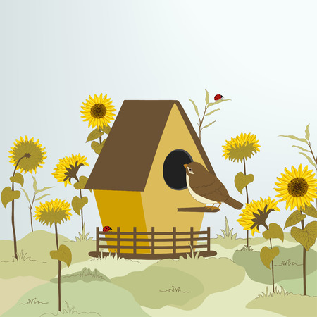 Sunflowers and cage with a bird Vector