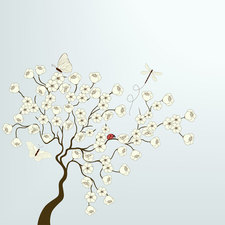 Tree with white flowers and butterflies Vector