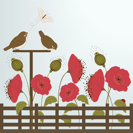 Cute birds in garden with butterfly and flowers Vector