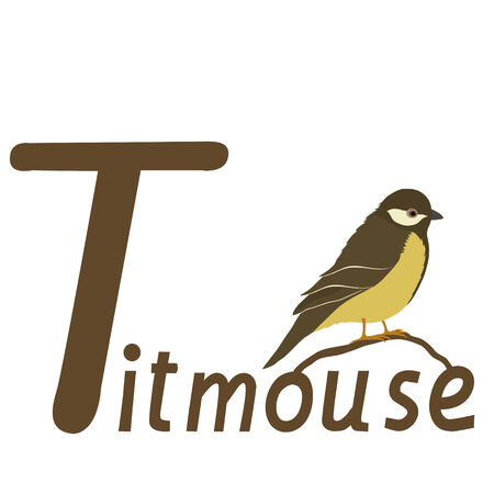 T for titmouse Vector