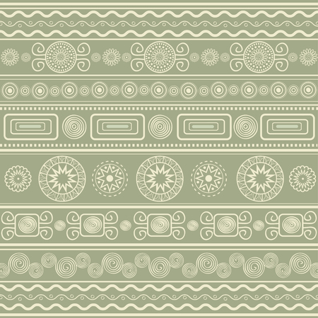Ethnic ornamental pattern on green background
