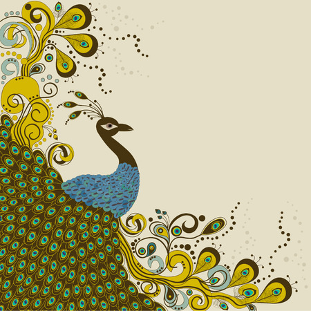 Card with abstract beautiful peacock on beige background Vector