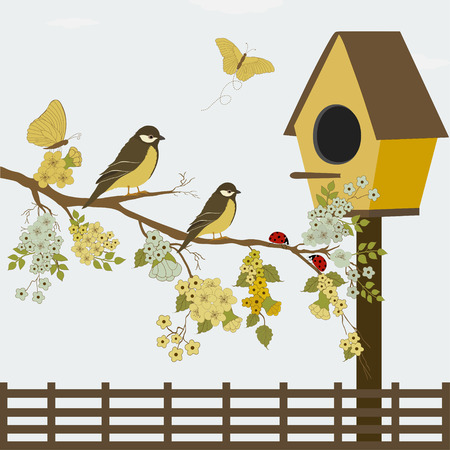 A branch with flowers and birds Vector