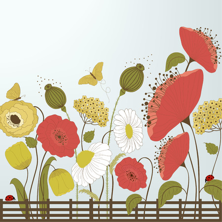 Spring flowers and butterflies on blue background Vector