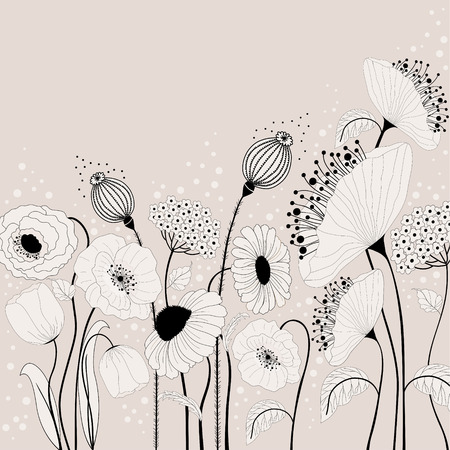 Abstract illustration with spring flowers