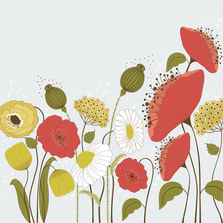 Spring flowers on blue background Vector