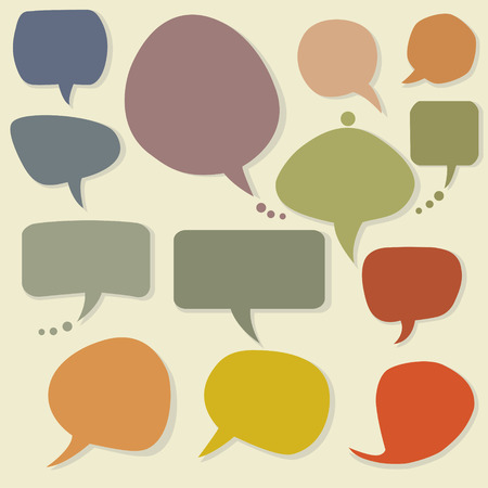 Colorful speech balloons and bubbles set Vector