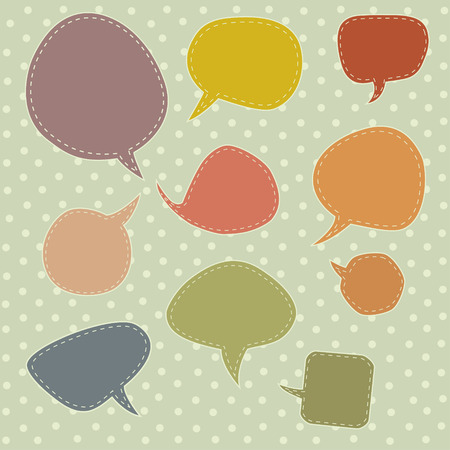 Colorful speech balloons and bubbles set in vector Vector