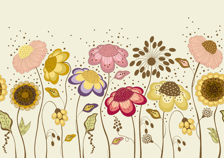 Seamless illustration with abstract colorful flowers