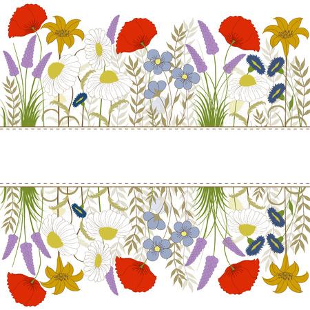 カラフルな野生の花で白い背景の上のカード  イラスト・ベクター素材