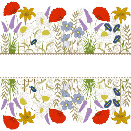 Card with colorful wild flowers on white background