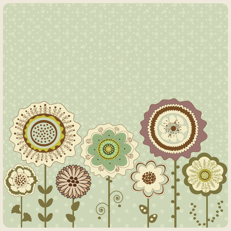 Abstract floral pattern on green background with dots
