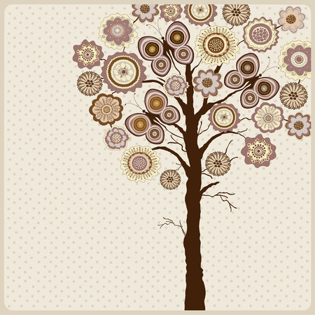 Floral card with abstract tree with flowers and butterflies Vector