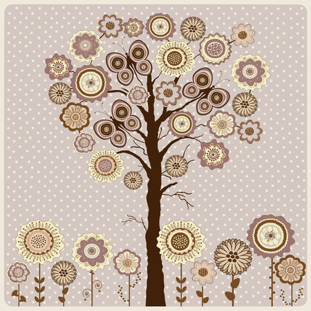 dos: Floral card with abstract tree and flowers on mauve background with dos