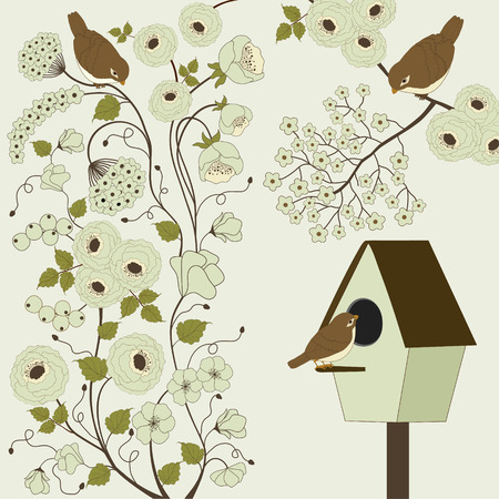 Branch in bloom with birds and cages Vector