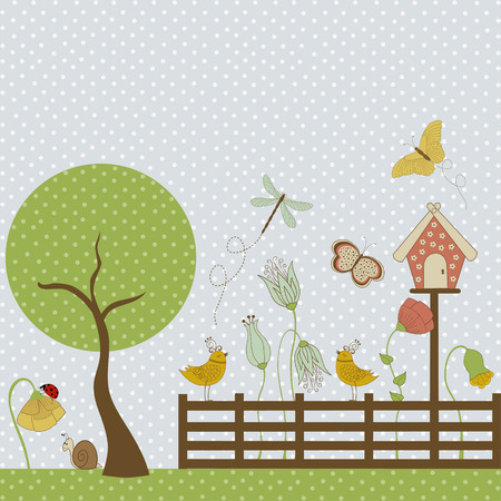 Background with flowers, butterflies, fence and birdhouse Vector