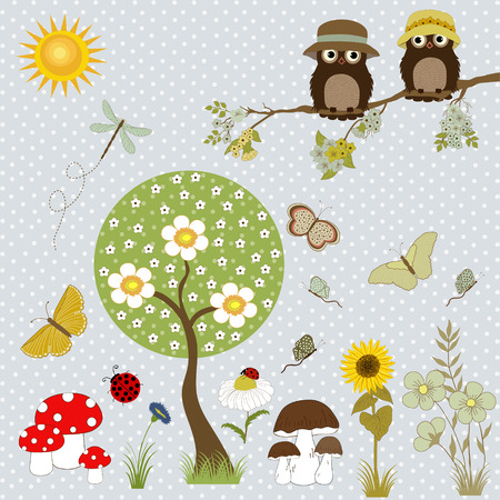 owl cartoon: Background with flowers, butterflies, owls and tree