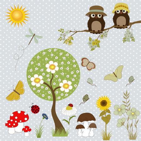 mariposa caricatura: Fondo con flores, mariposas, búhos y árbol