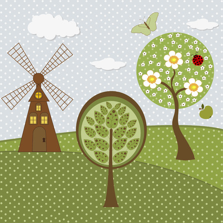 gristmill: Set of nature textile stickers Illustration