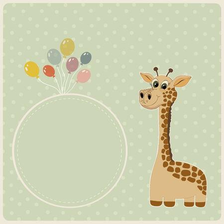 giraffe frame: Birthday greeting card with giraffe