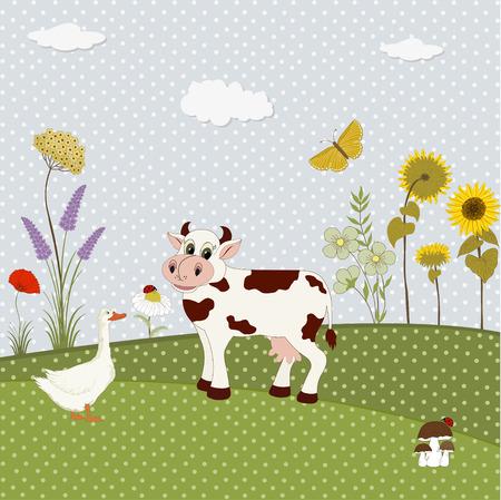 ladybug cartoon: Set of nature textile stickers Illustration