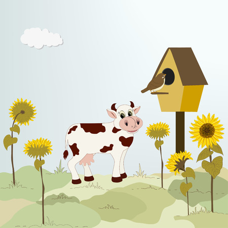 Rural landscape with cow, birdhouse and sunflowers Vector