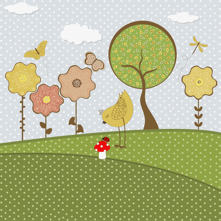 applique flower: Set of nature textile stickers Illustration