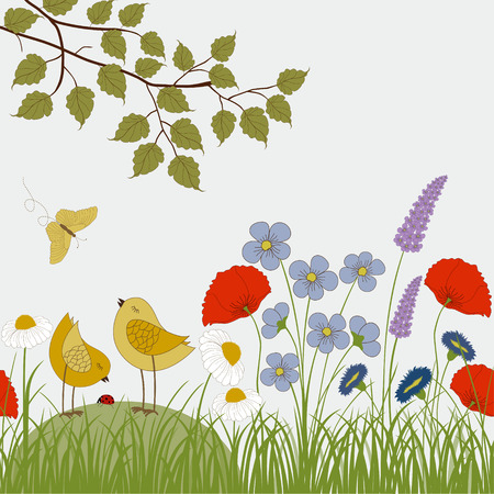 Card with colorful wild flowers and cute birds Vector