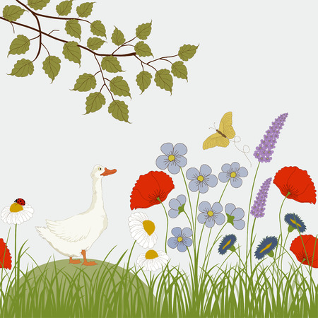 Card with colorful wild flowers and cute goose Vector