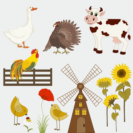 gristmill: Gristmill, sunflowers with domestic animals Illustration